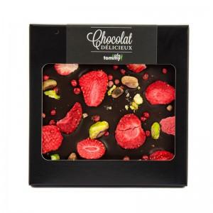 Czekolada gorzka z truskawkami,pistacjami i czerwonym pieprzem